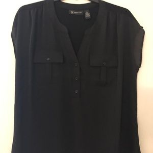 Womens Plus 0X Black Sleeveless Blouse by INC